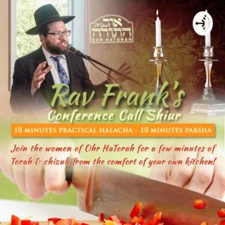 Rabbi Frank's Thursday Night Shiur